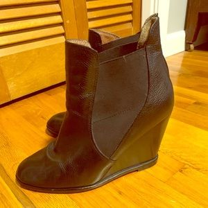 Corso Como Black Leather Wedge Bootie